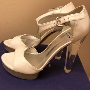 New Stuart Weitzman white leather with clear heels
